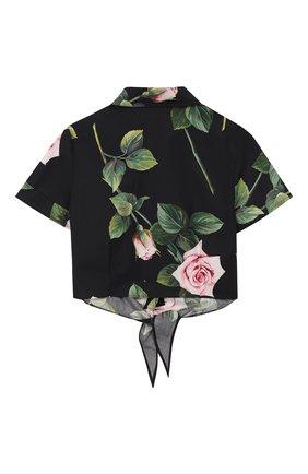 Детское хлопковая блузка DOLCE & GABBANA черного цвета, арт. L54S05/HS5GG/2-6 | Фото 2