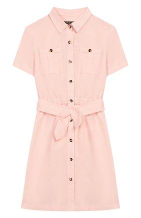 Детское льняное платье LORO PIANA светло-розового цвета, арт. FAI9381 | Фото 1