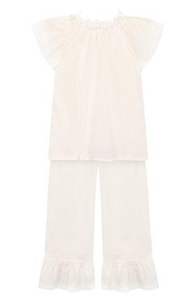 Детская хлопковая пижама AMIKI CHILDREN белого цвета, арт. EUGENE | Фото 1