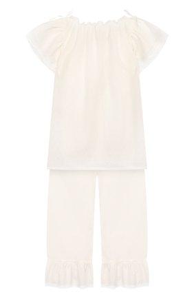 Детская хлопковая пижама AMIKI CHILDREN белого цвета, арт. EUGENE | Фото 2