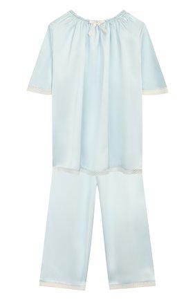 Детская шелковая пижама AMIKI CHILDREN голубого цвета, арт. MARITE | Фото 1