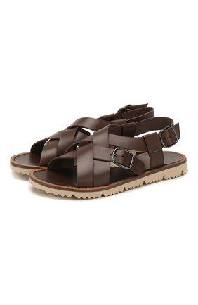 Детские кожаные сандалии JARRETT коричневого цвета, арт. JE1SA001/FL0RIDA/35-40 | Фото 1