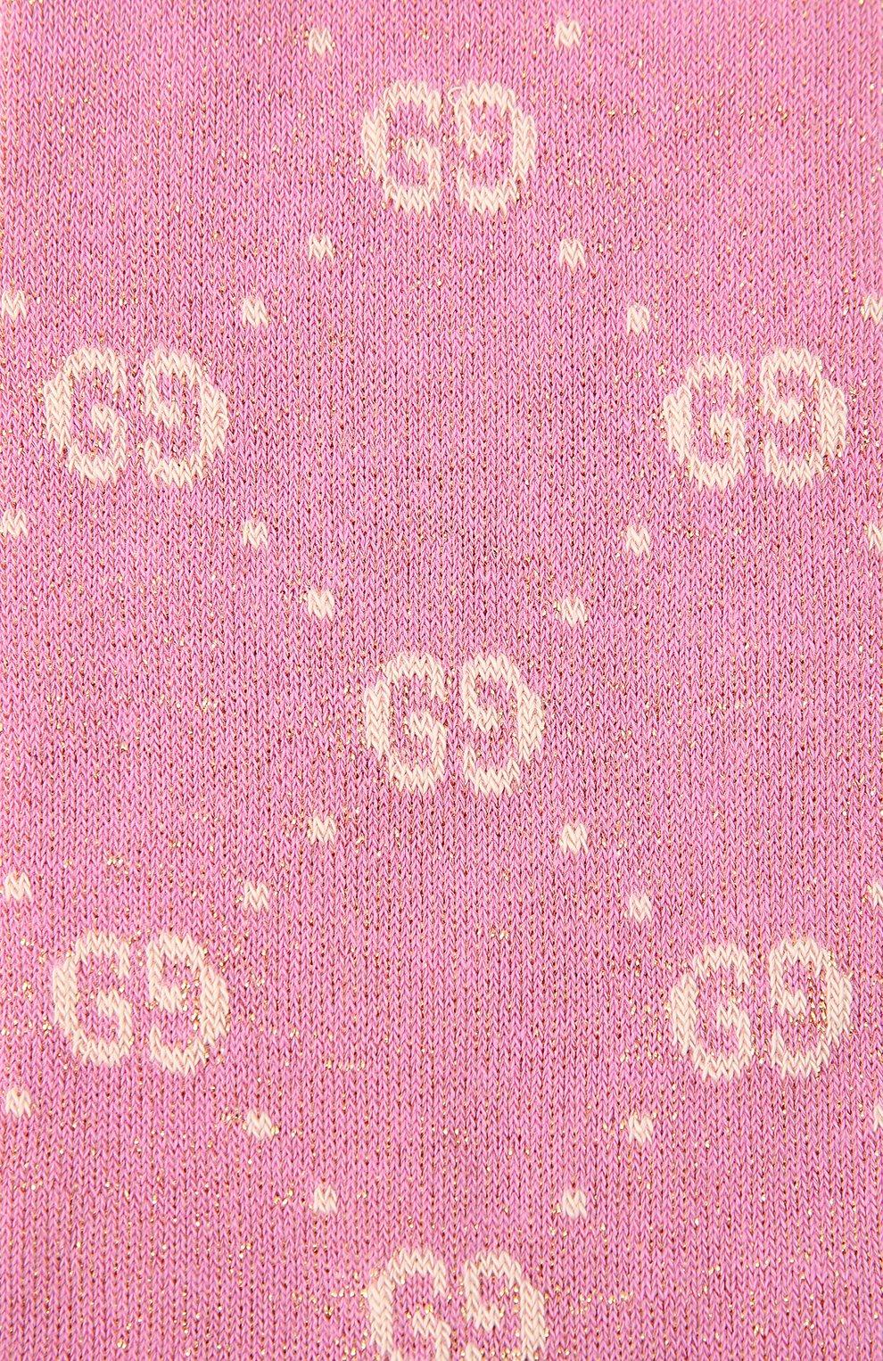 Детские хлопковые гольфы GUCCI розового цвета, арт. 480715/4K443 | Фото 2