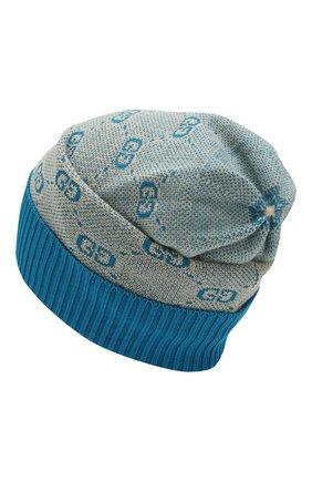 Детского шапка из хлопка и шерсти GUCCI голубого цвета, арт. 574720/4K208 | Фото 2