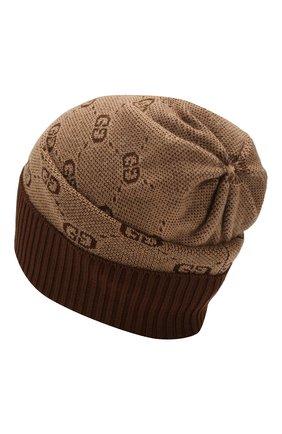 Детского шапка из хлопка и шерсти GUCCI коричневого цвета, арт. 574720/4K208 | Фото 2