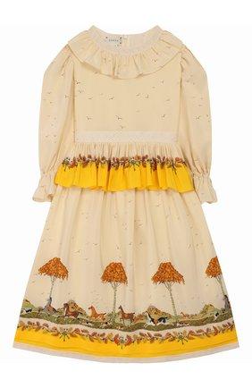 Детское шелковое платье GUCCI желтого цвета, арт. 590555/ZADA0 | Фото 1