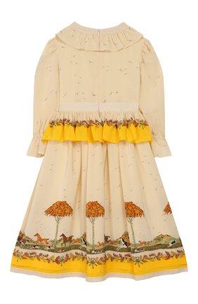Детское шелковое платье GUCCI желтого цвета, арт. 590555/ZADA0 | Фото 2