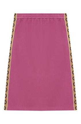 Детская хлопковая юбка GUCCI розового цвета, арт. 596244/XJB8Z | Фото 1