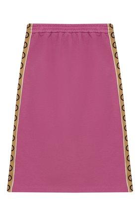 Детская хлопковая юбка GUCCI розового цвета, арт. 596244/XJB8Z | Фото 2