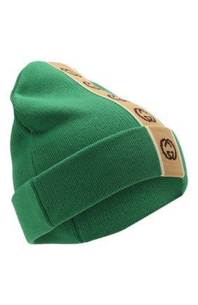 Детского хлопковая шапка GUCCI зеленого цвета, арт. 603805/4K020 | Фото 1