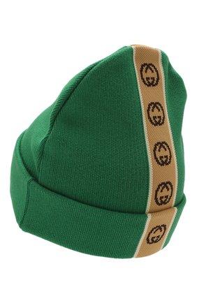 Детского хлопковая шапка GUCCI зеленого цвета, арт. 603805/4K020 | Фото 2