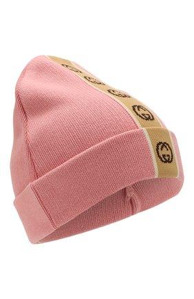 Детского хлопковая шапка GUCCI розового цвета, арт. 603805/4K020 | Фото 1