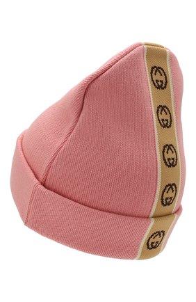 Детского хлопковая шапка GUCCI розового цвета, арт. 603805/4K020 | Фото 2