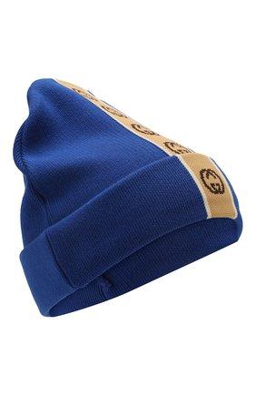 Детского хлопковая шапка GUCCI синего цвета, арт. 603805/4K020 | Фото 1