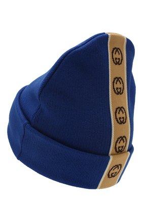 Детского хлопковая шапка GUCCI синего цвета, арт. 603805/4K020 | Фото 2