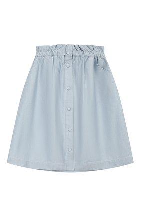 Детская хлопковая юбка LORO PIANA голубого цвета, арт. FAI9639 | Фото 1