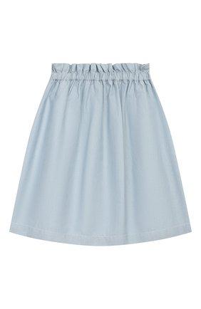 Детская хлопковая юбка LORO PIANA голубого цвета, арт. FAI9639 | Фото 2