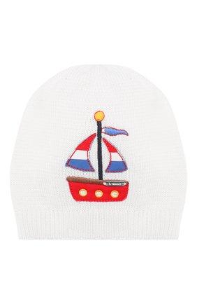 Детского хлопковая шапка IL TRENINO белого цвета, арт. 20 6642/E0 | Фото 1
