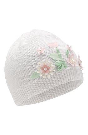 Детского хлопковая шапка IL TRENINO белого цвета, арт. 20 6716/E0 | Фото 1