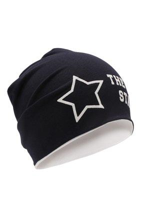Детского хлопковая шапка IL TRENINO темно-синего цвета, арт. 20 6876/E0 | Фото 1