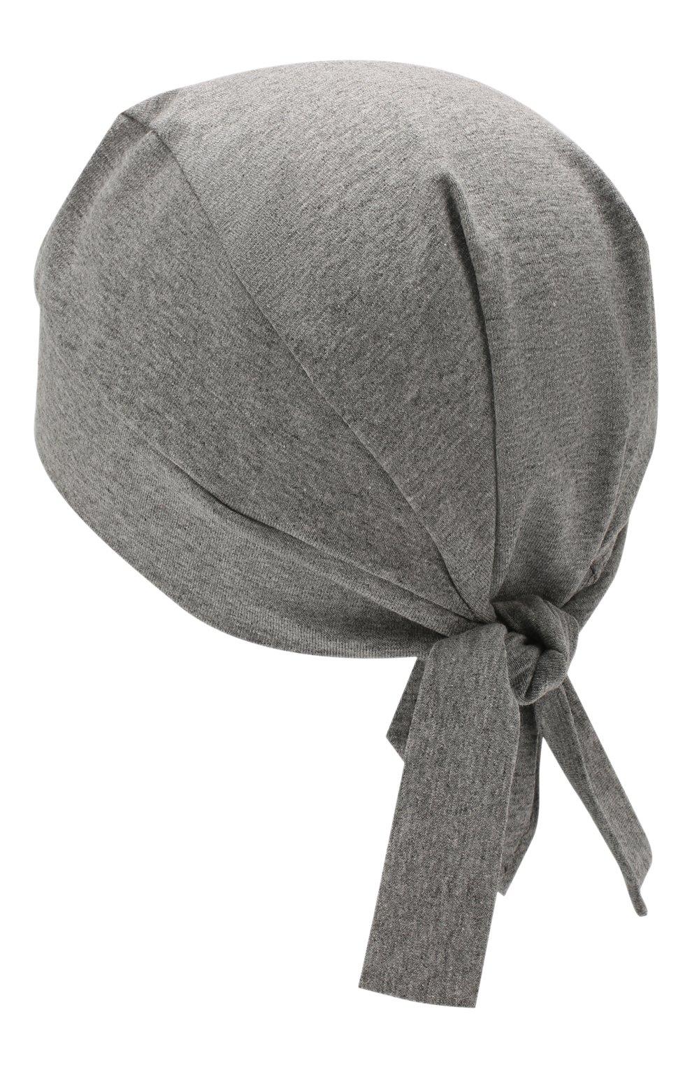 Детская хлопковая косынка IL TRENINO светло-серого цвета, арт. 20 6885/E0 | Фото 2 (Материал: Текстиль, Хлопок)