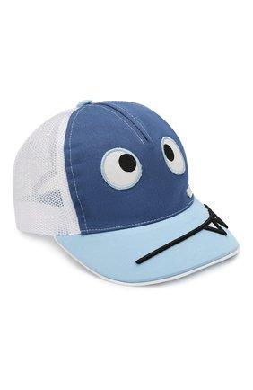 Детская хлопковая бейсболка IL TRENINO синего цвета, арт. 20 7066/E0 | Фото 1
