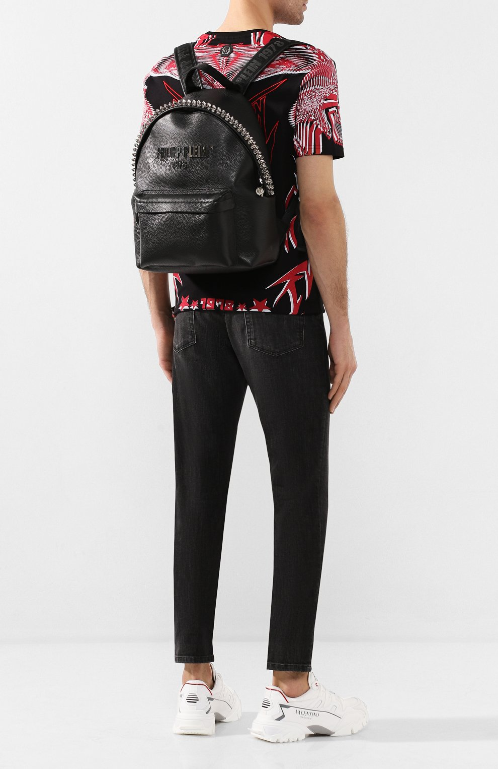 Мужской кожаный рюкзак PHILIPP PLEIN черного цвета, арт. S20A MBA0887 PLE053N | Фото 2