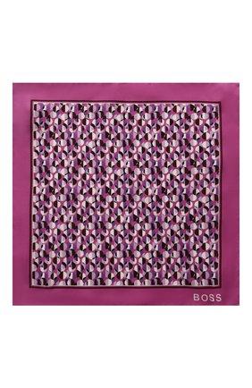 Мужской шелковый платок BOSS сиреневого цвета, арт. 50429485 | Фото 3