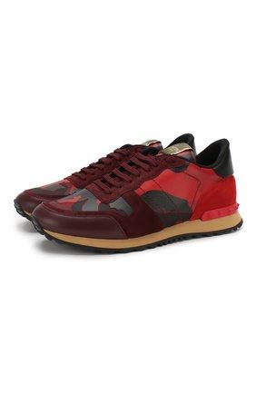 Мужские комбинированные кроссовки valentino garavani rockrunner VALENTINO красного цвета, арт. PY2S0723/TCC | Фото 1