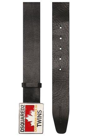 Мужской кожаный ремень  DSQUARED2 черно-белого цвета, арт. BEM0151 01500001 | Фото 2