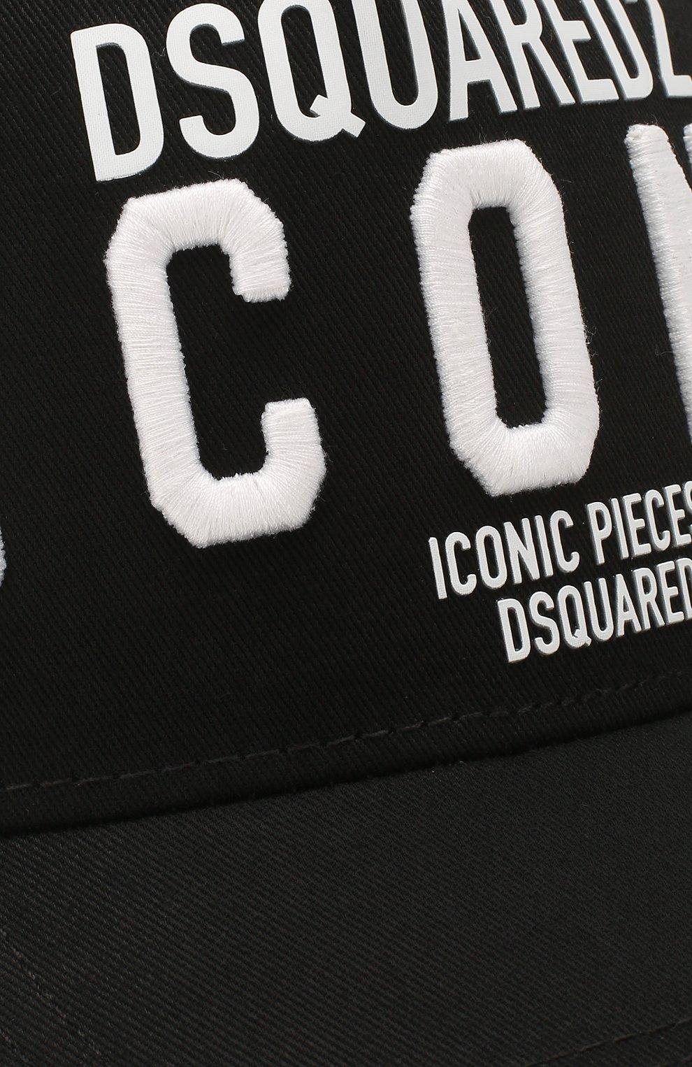 Мужской хлопковая бейсболка icon DSQUARED2 черного цвета, арт. BCM0290 05C00001 | Фото 3