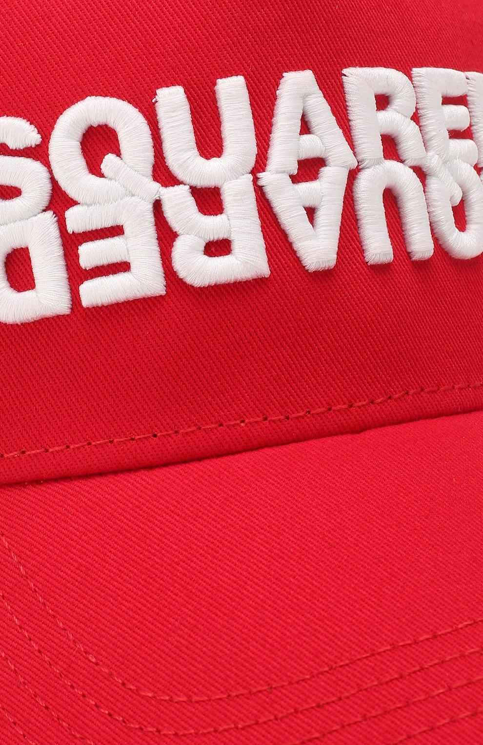Мужской хлопковая бейсболка DSQUARED2 красного цвета, арт. BCM0282 05C00001 | Фото 3