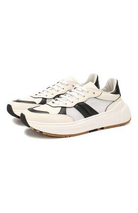 Мужские кожаные кроссовки BOTTEGA VENETA белого цвета, арт. 565646/VJE21 | Фото 1