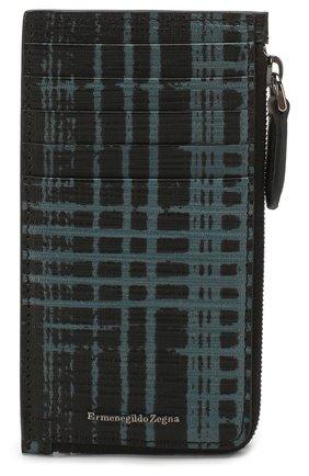 Мужской кожаный футляр для кредитных карт ERMENEGILDO ZEGNA синего цвета, арт. E1571J-LHJAS | Фото 1