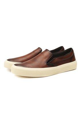 Мужские кожаные слипоны TOM FORD коричневого цвета, арт. J0985T-LCL020 | Фото 1