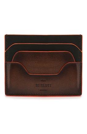 Мужской кожаный футляр для кредитных карт BERLUTI коричневого цвета, арт. N202366 | Фото 1