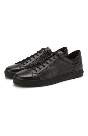 Мужские кожаные кеды MORESCHI черного цвета, арт. 90042925 | Фото 1