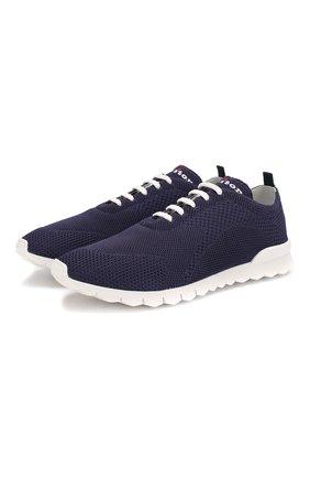 Мужские текстильные кроссовки KITON темно-синего цвета, арт. USSFITSN00609   Фото 1