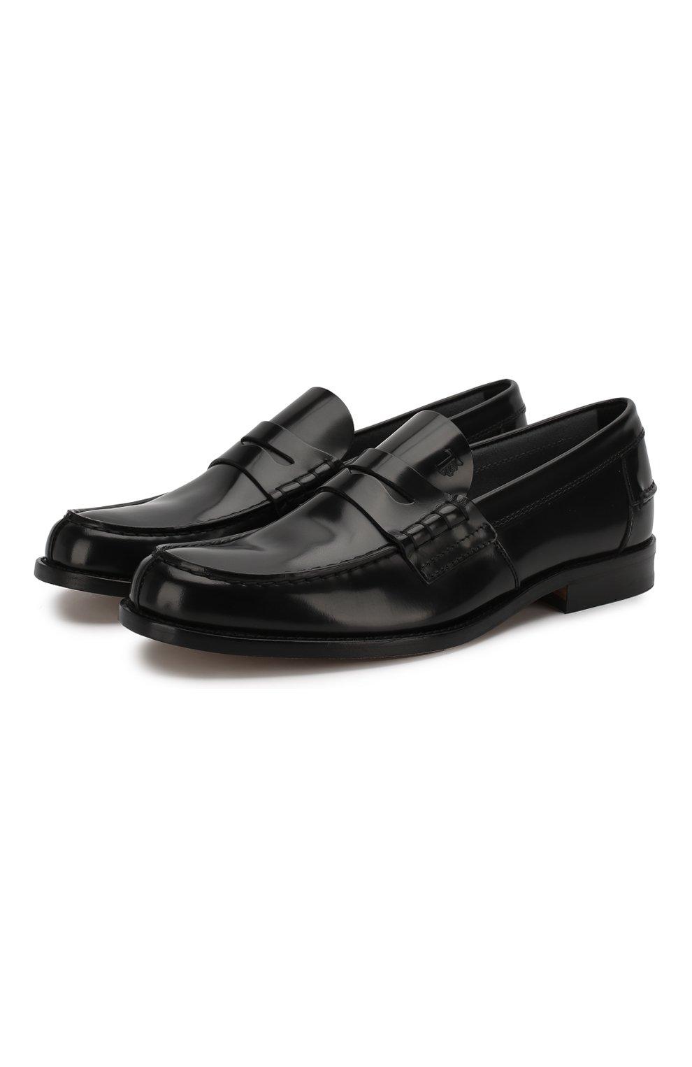Мужские кожаные пенни-лоферы TOD'S черного цвета, арт. XXM26C0C050AKT | Фото 1 (Мужское Кросс-КТ: Лоферы-обувь; Материал внутренний: Натуральная кожа; Стили: Классический)