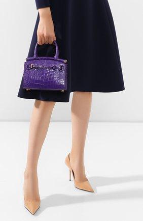 Женская сумка rl50 mini из кожи аллигатора RALPH LAUREN фиолетового цвета, арт. 435769101/AMIS | Фото 2