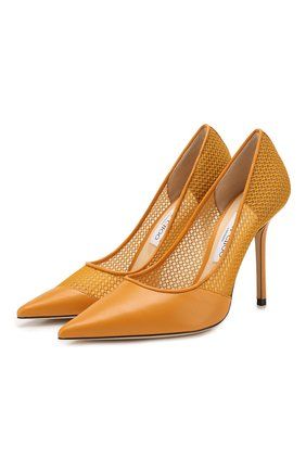 Женская комбинированные туфли love 100 JIMMY CHOO желтого цвета, арт. L0VE 100/ZHC | Фото 1