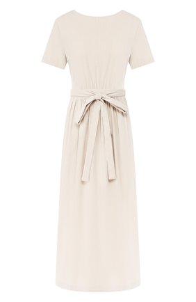 Женское платье с поясом TEREKHOV GIRL бежевого цвета, арт. 2D178/3788.ST102/S20 | Фото 1