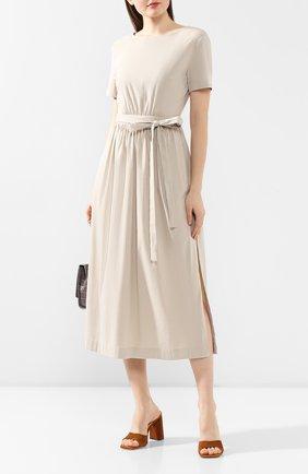 Женское платье с поясом TEREKHOV GIRL бежевого цвета, арт. 2D178/3788.ST102/S20 | Фото 2