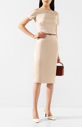 Женское платье с поясом TEREKHOV GIRL бежевого цвета, арт. 2DE041/8022.102/S20 | Фото 2