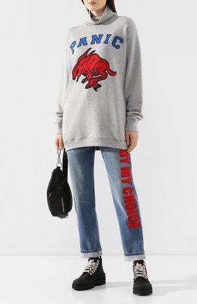 Женский хлопковый свитер GUCCI серого цвета, арт. 598875/XJBX5 | Фото 2