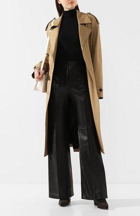 Женские кожаные брюки GUCCI черного цвета, арт. 599059/XNAH0 | Фото 2