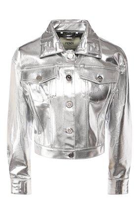 Женская джинсовая куртка FENDI серебряного цвета, арт. FLF589 A9FB | Фото 1