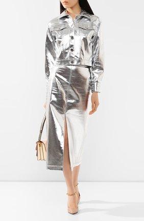Женская джинсовая куртка FENDI серебряного цвета, арт. FLF589 A9FB | Фото 2