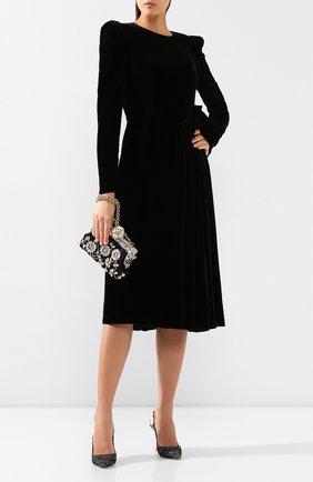Женское бархатное платье DOLCE & GABBANA черного цвета, арт. F6G8MT/FUVKQ | Фото 2