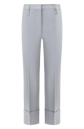 Женские льняные брюки BRUNELLO CUCINELLI голубого цвета, арт. MF591P7231 | Фото 1